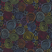 Spirals stars on Black Quilting Fabric