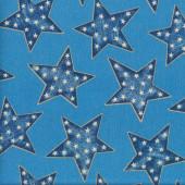 Stars on Blue Fabric