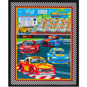 Start Your Engines Racing Cars Checkered Flag Border Quilt Fabric Panel