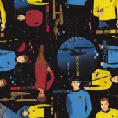Star Trek on Black Scotty And Spock Boys Kids Licensed Quilt Fabric