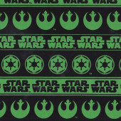 Green Star Wars Words on Black Boys Kids Licensed Quilt Fabric