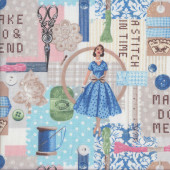 Make Do and Mend Stitch in Time Sewing Quilting Fabric