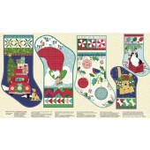 Christmas Stockings Angel Better Not Pout Quilting Fabric Panel