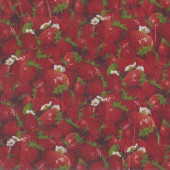 Red Strawberries LAMINATED Water Resistant Slicker Fabric