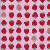 Delicious Red Strawberries on Pink Fruit Quilting Fabric