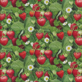 Red Strawberries Green Leaves White Flowers Quilting Fabric