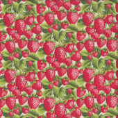 Red Strawberries with Green Leaves on Cream Fruit Kitchen Quilting Fabric