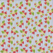Strawberries and Flowers on Blue White Stripes Tea For Two Quilt Fabric