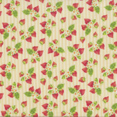 Strawberries and Flowers on Yellow White Stripes Tea For Two Quilt Fabric