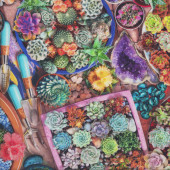 Succulents in Pots Crystals Plants Garden Gardening Quilting Fabric