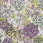 Succulents on White Quilting Fabric