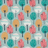 Colourful Trees Leaves on Light Green Summer Breeze Quilting Fabric