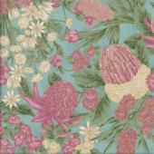 Australian Sun Grevillea Banksia Flowers on Teal Pink Quilting Fabric