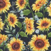 Sunflowers on Black Sundance Meadow Flower Quilting Fabric