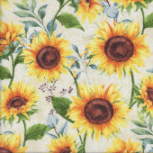 Sunflowers on White Sundance Meadow Flower Quilting Fabric