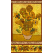 Sunflowers Vincent Van Gogh Flowers Quilting Fabric Panel