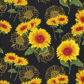 Bright Sunflowers on Black Flower Floral Quilting Fabric