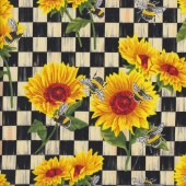 Bright Sunflowers on Checks Bees Flower Floral Quilting Fabric
