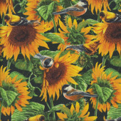 Sunflowers with Little Birds on Black Flower Floral Wild Wings Quilting Fabric