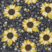 Sunflowers on Black You are My Sunshine Bees Quilting Fabric