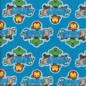 Marvel Super Heroes on Blue Iron Man Hulk Kids Licensed Quilting Fabric