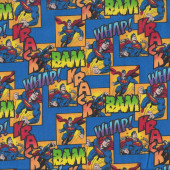 Superman on Blue Bam Whap Krack Boys Licensed Quilting Fabric