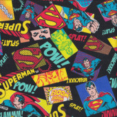 Superman Pow Kaboom on Black DC Boys Kids Licensed Quilt Fabric