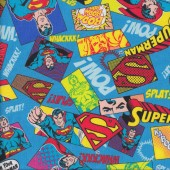 Superman Pow Kaboom on Blue DC Boys Kids Licensed Quilt Fabric