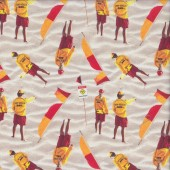 Lifesaver Beach Surf Rescue on Sand Quilting Fabric