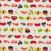 Japanese Sushi on Cream Quilting Fabric