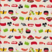 Japanese Sushi on Cream Quilting Fabric