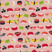 Japanese Sushi on Peach Quilting Fabric