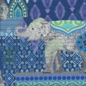 Suzani Caravan Elephants on Blue Purple LARGE PRINT Quilting Fabric