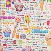 Cupcakes Ice Creams Baking Ingredients Kitchen Sweet Tooth Quilting Fabric