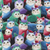 Cat-i-tude Sweetheart Cats Purrfect Together with Metalllic Gold Catitude Quilting Fabric