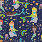 Swimming Mermaids with Silver Metallic on Dark Blue Fish Quilting Fabric