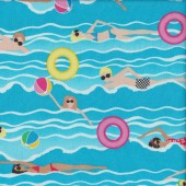 Swimming on Blue Waves Swimmers Quilting Fabric