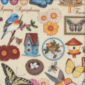 Birds Flowers Butterflies Bird Houses Spring Symphony on Cream Quilting Fabric