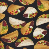 Tacos on Black Mexican Food Kitchen Quilting Fabric