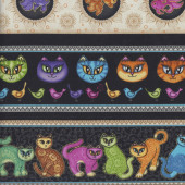 Cats Tail of Two Kittens Border Birds Fish Quilting Fabric