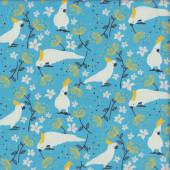 Cockatoos on Blue Australiana Taking Flight Birds Quilting Fabric