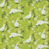Cockatoos on Green Australiana Taking Flight Birds Quilting Fabric