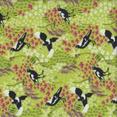 Magpies on Green Taking Flight Australian Bird Quilting Fabric