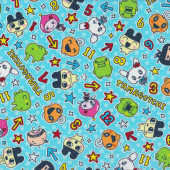 Tamagotchi on Aqua Kids Digital Pet Licensed Fabric