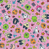 Tamagotchi on Pink Kids Digital Pet Licensed Fabric