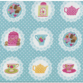 Teacups Biscuits on Doilies Quilting Fabric