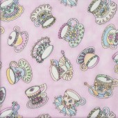 Herbal Tea Cups Teabags on Pink Quilting Fabric