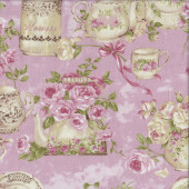 Tea Cups Pots Roses on Pink Quilting Fabric