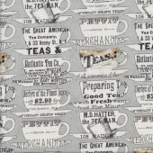 Teacups on Grey Tidings of Joy Quilting Fabric