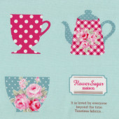 Teacups and Teapots on Aqua Green Tea Flower Sugar Maison Fabric